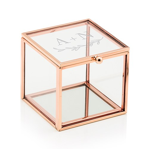 Glass and Rose Gold Square Box - Couple Monogram with Rustic Leaf