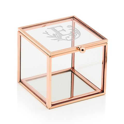 Glass and Rose Gold Square Box - Fairytale Monogram