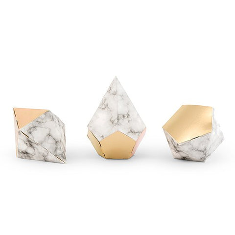 Modern Marble and Gold Diamond Favor Boxes