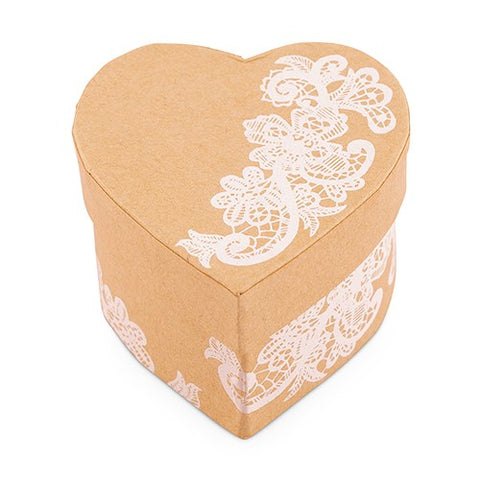 Heart Shaped Kraft Paper Box with Lace Design