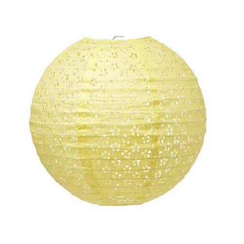 Small Lace Paper Lantern - Yellow