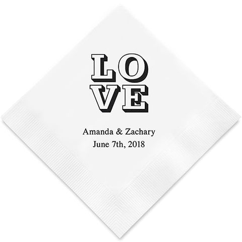 Love on Stack Printed Paper Napkins