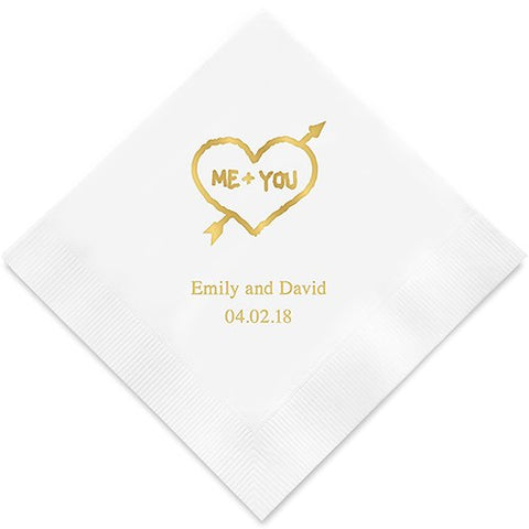 Me and You Heart Printed Paper Napkins