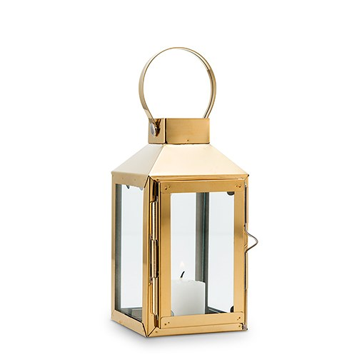 Glass Candle Lantern - Gold