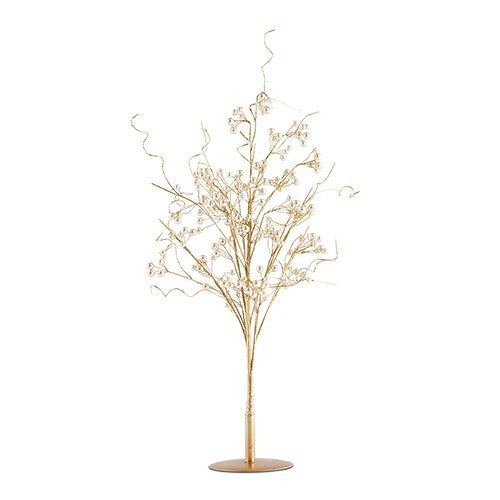 Pearl and Vintage Gold Wire Ornamental Tree