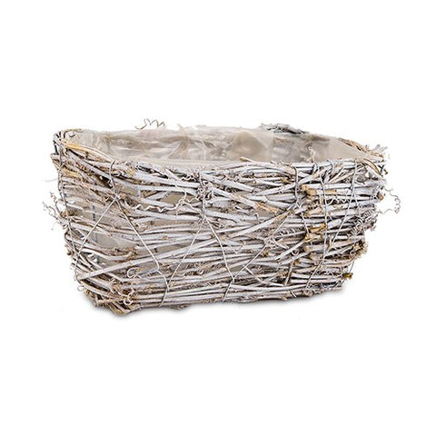 Mini Nest Basket in White Wash and Liner - Medium