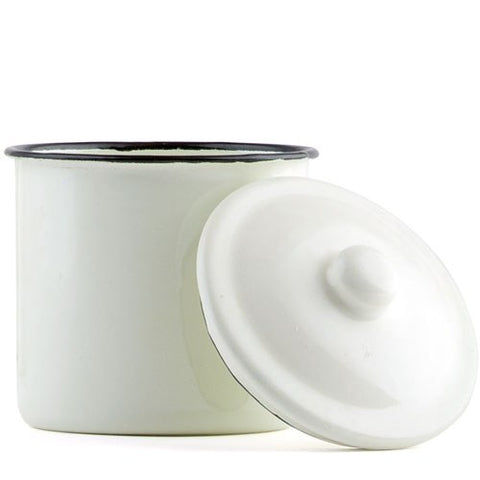Vintage White Enamelware Canister with Lid Favor