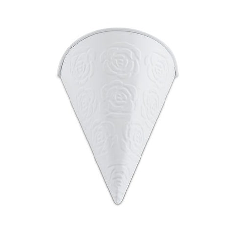 White Metal Cone with Embosed Rose Pattern