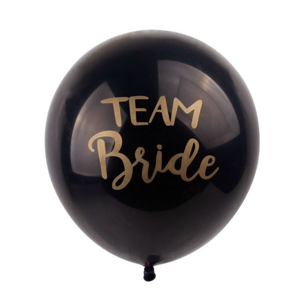 10 Team Bride Balloons Set - Black