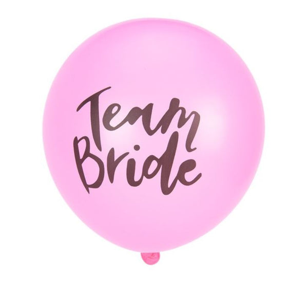 10 Team Bride Balloons Set - Pink
