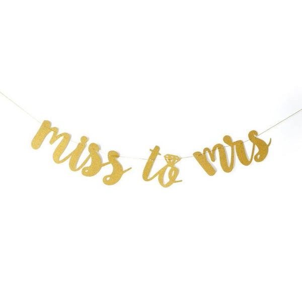 Miss to Mrs Gold Glitter Wedding Banner - Cursive