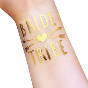12 pcs Bride Tribe Temporary Tattoo Set