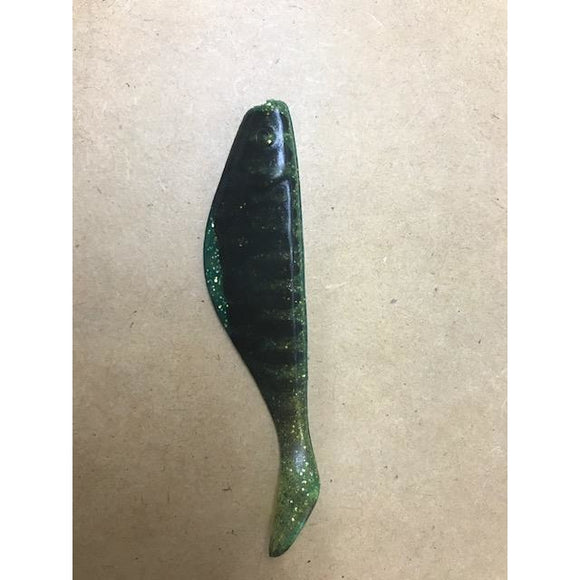 Southeastern Slammer Lures (Shad - 4 inch, Green metal flake with black tiger stripes - 100 Count)