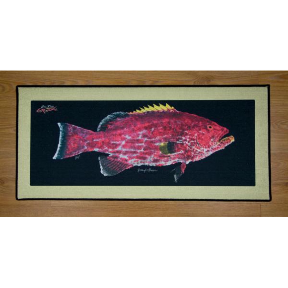 Real-Fish Gyotaku Floor Mat (Yellowtail Grouper)
