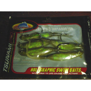 "Tsunami Pro 5"" Pro Holographic Swim Bait, Trout Mauler Black Back,  Pack of 6"