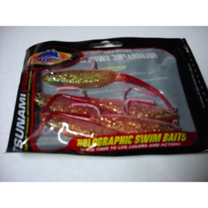 "Tsunami Pro 5"" Pro Holographic Swim Bait,  Trout Mauler Pink Sparkle Red Tail,  Pack of 6"