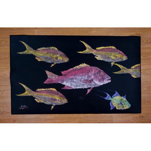 Real-Fish Gyotaku Rug (Mutton Snapper, Yellowtail Snapper, Queen Triggerfish)