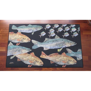 Real-Fish Gyotaku Rug (Inshore Slam)
