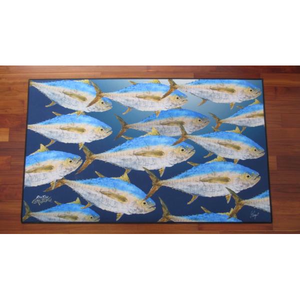 Real-Fish Gyotaku Rug (Tuna School)