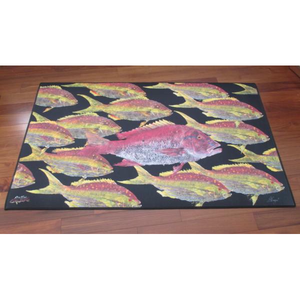 Real-Fish Gyotaku Rug (Snapper School)
