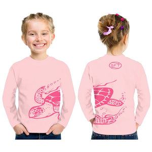 Southeastern Longsleeve Youth Fishing Shirt - Wrap-A-Turtle (Pink)