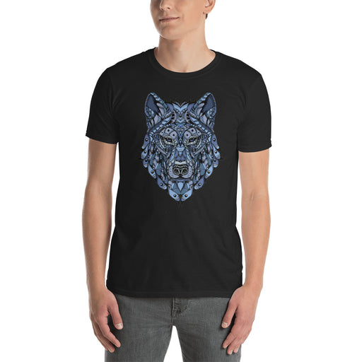 Ornate Blue Wolf T-Shirt by BXX Studio