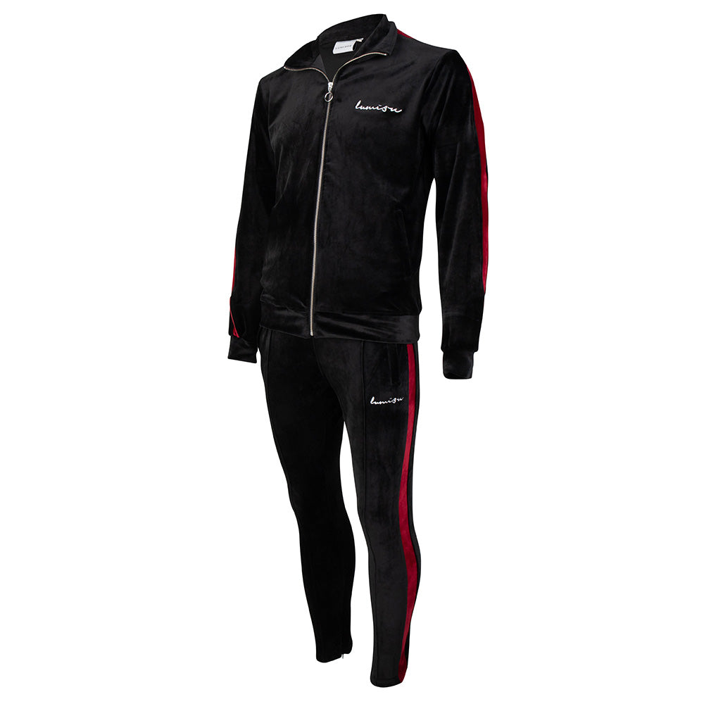 Velour Tracksuit Black-Burgundy Red