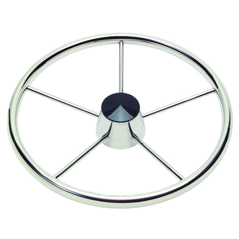 "Schmitt  Ongaro 170 13.5"" Stainless 5-Spoke Destroyer Wheel w/ Black Cap and Standard Rim - Fits 3/4"" Tapered Shaft Helm [1721321]"