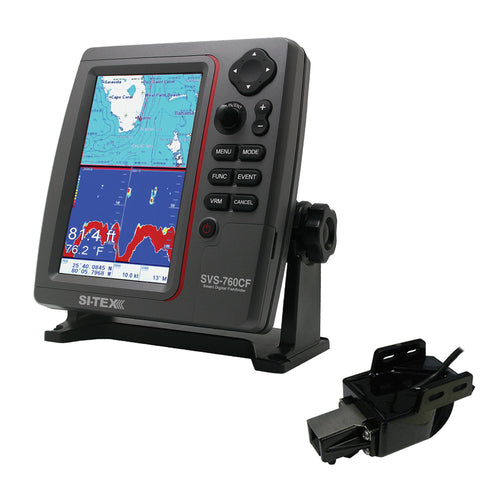 SI-TEX SVS-760CF Dual Frequency Chartplotter Sounder w/Navionics+ Flexible Coverage & Transom Mount Triducer [SVS-760CFTM]