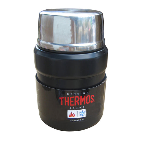 Thermos Stainless King Vacuum Insulated Food Jar w/Folding Spoon - 16 oz. - Stainless Steel/Matte Black [SK3000BKTRI4]