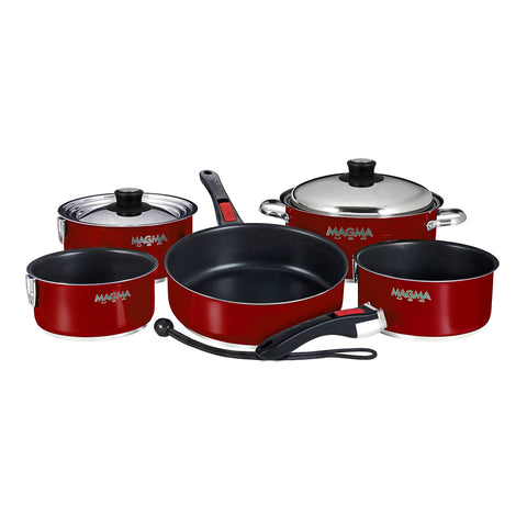 Magma Nesting 10-Piece Induction Compatible Cookware - Magma Red Exterior & Slate Black Ceramica Non-Stick Interior [A10-366MR-2-IND]