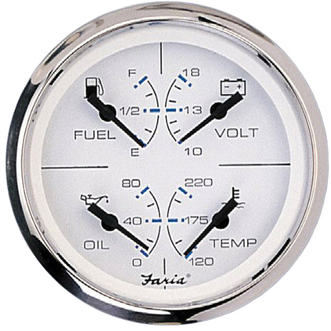 "Faria Chesapeake SS White 4"" Multifunction 4-in-1 Combination Gauge w/Fuel, Oil, Water  Volts [33851]"