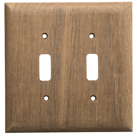 Whitecap Teak 2-Toggle Switch/Receptacle Cover Plate [60176]