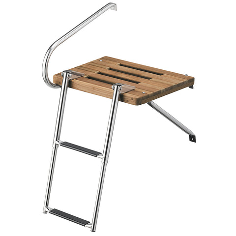 Whitecap Teak Swim Platform w/2-Step Telescoping Ladder f/Boats w/Outboard Motors [68900]