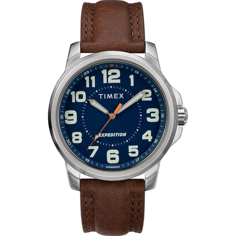 Timex Mens Expedition Metal Field Watch - Blue Dial/Brown Strap [TW4B16000JV]