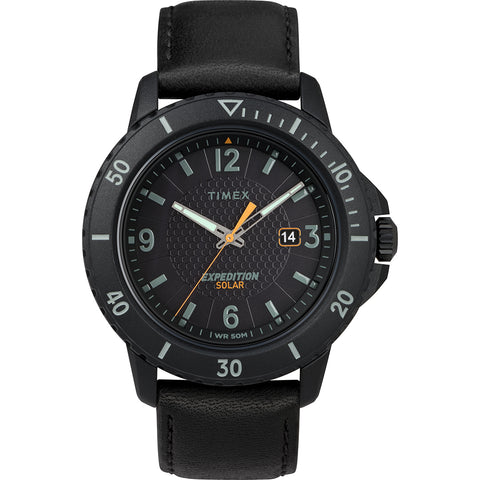 Timex Gallatin Solar Watch - Leather Strap/Black Dial [TW4B14700JV]