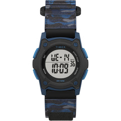 Timex Kids Digital 35mm Watch - Blue Camo w/Fastwrap Strap [TW7C77400XY]