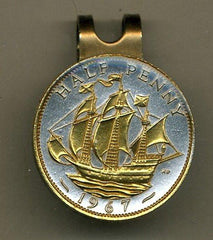 "British ½ penny ""Gold & silver Sailing ship"" (U.S. quarter size)"