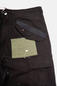 Black patched M-65 cargo shorts