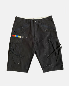 Black painted M-65 cargo shorts