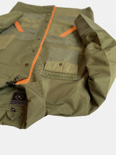 Nylon olive patch work jacket