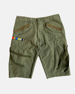 olive painted M-65 cargo shorts