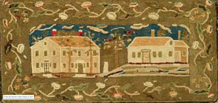 1835 Two Houses Rug Hooking Patterns