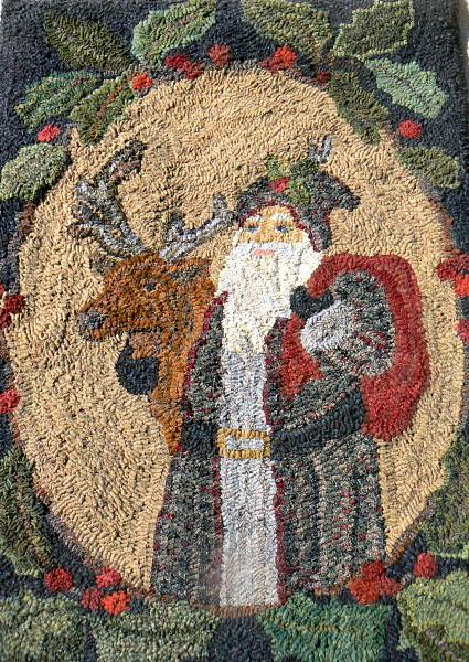 Santa And Friend With Primitive Holly Twig Border Patterns