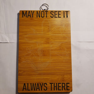 "Laser Etched ""May not see it"" Bamboo Cutting Board Paddle Style"