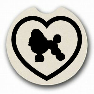 Poodle in Heart Car Coaster