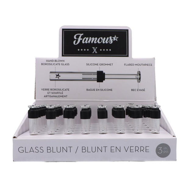 "Famous X 3"" Glass Blunt – 48/Tray"
