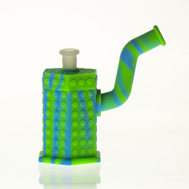 "Silicone Hexagon Bubbler w/Titanium Nail & Silicone Stem & Secret Storage 6"" Blue & Green"
