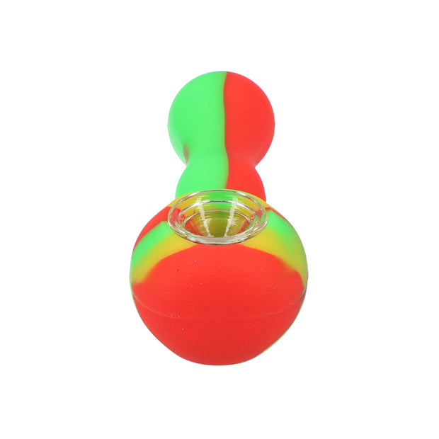 Silicone pipe with glass bowl & secret storage 4""