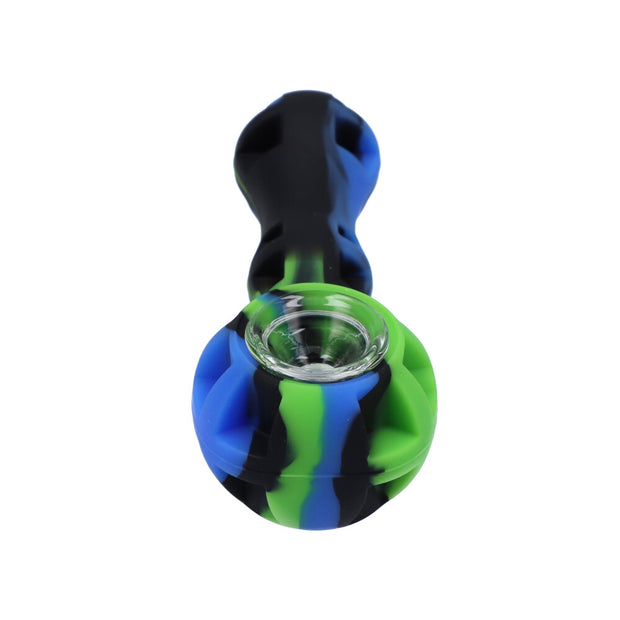 "Silicone Pipe 4"" with glass bowl, dab tool and secret storage"